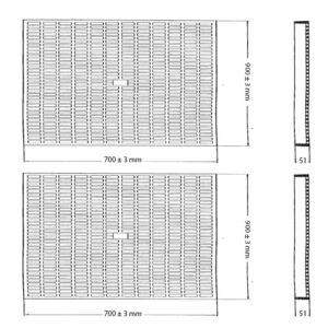 Szkic rusztów typu D kraty pomostowe z tworzywa