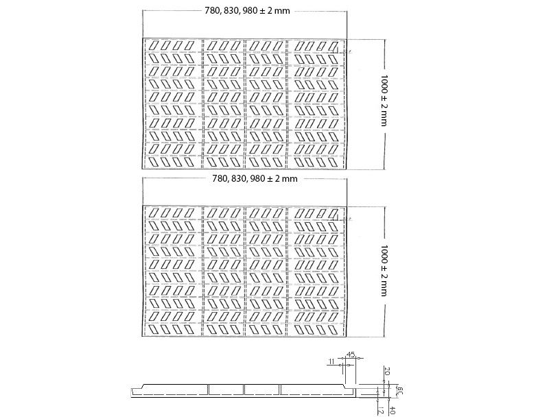 Kraty pomostowe Vema szkic rusztów typu A